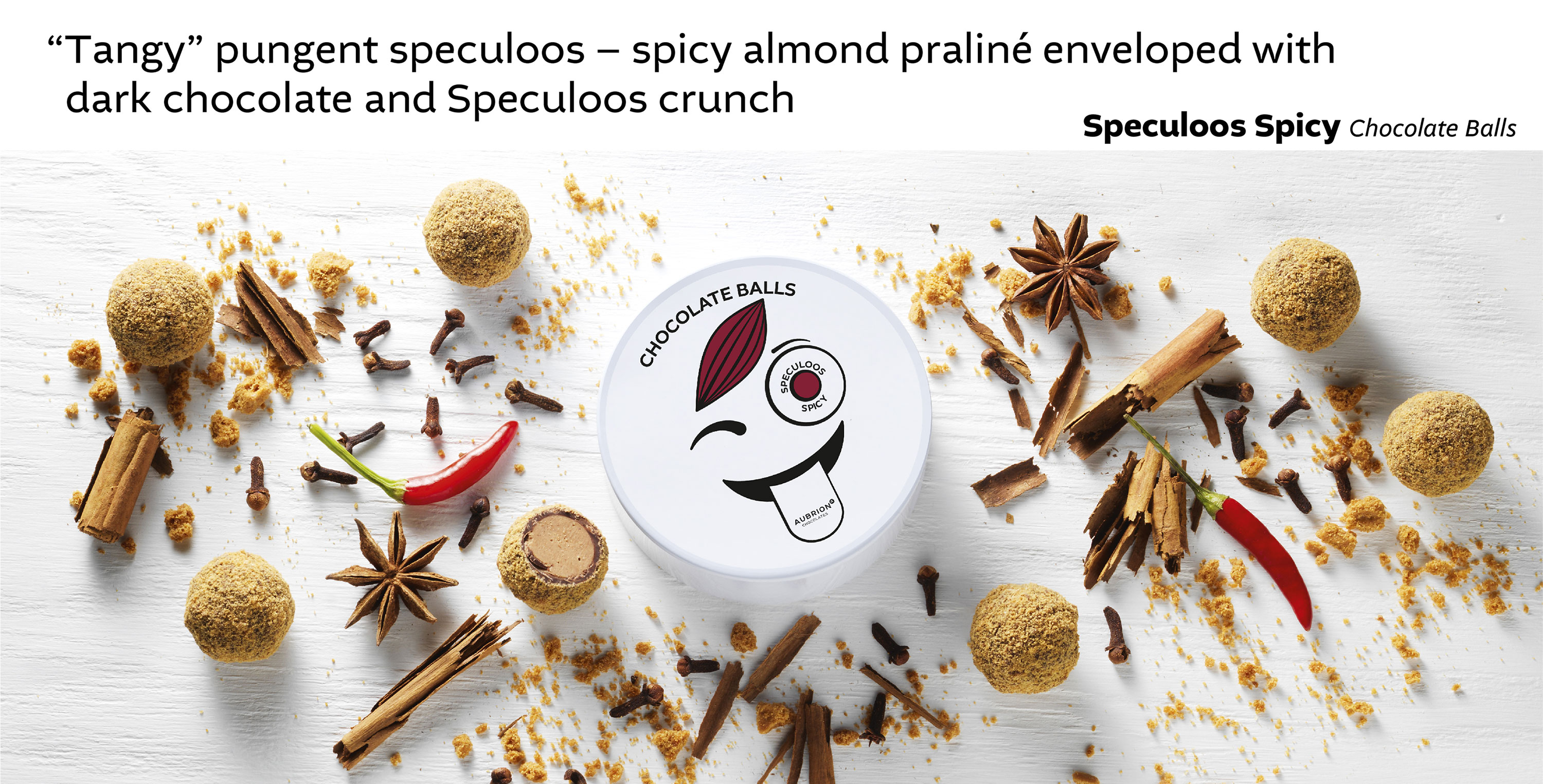 Tangy pungent speculoos-spicy almond praliné enveloped with dark chocolate and Speculoos crunch - Speculoos Spicy Chocolate Balls